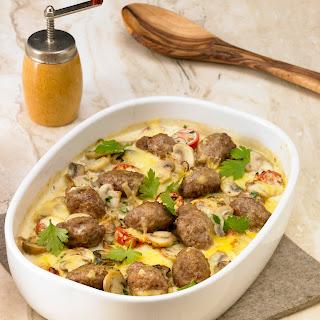Kartoffel-Champignon-Gratin mit faschierten Bällchen