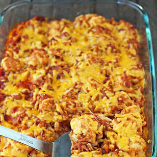 Bubble Up BBQ Chicken and Beans Bake.