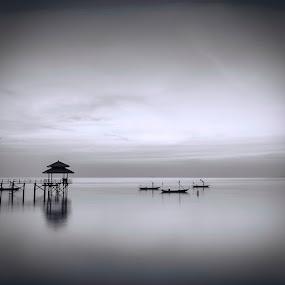 Slow by Robertho Ponomban - Landscapes Beaches ( minimalism, jetty, mono )
