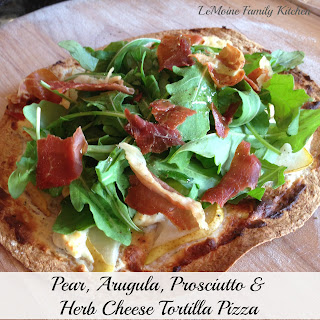 Pear, Arugula, Prosciutto & Herb Cheese Tortilla Pizza.
