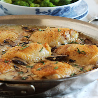 Pan Roasted Chicken Thighs with Creamy Mushroom Tarragon Sauce.
