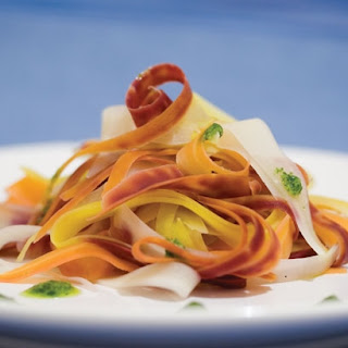 "Colored Carrot ""Fettuccini"" with Tarragon Pesto"