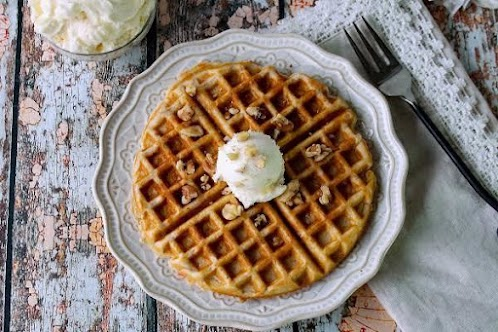 Carrot Cake Waffles with Cream Cheese Butter