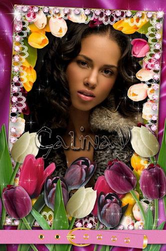 Цветочная рамка - Яркие тюльпаны