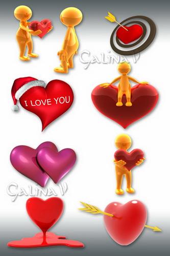 Клипарт ко Дню Влюблённых - 3D Любовь