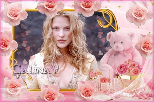 Рамка для поздравлений - Плюшевый мишка в розовых розах