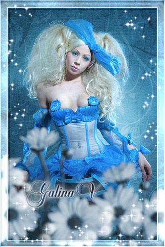 Женский фотошаблон - Красавица в голубом