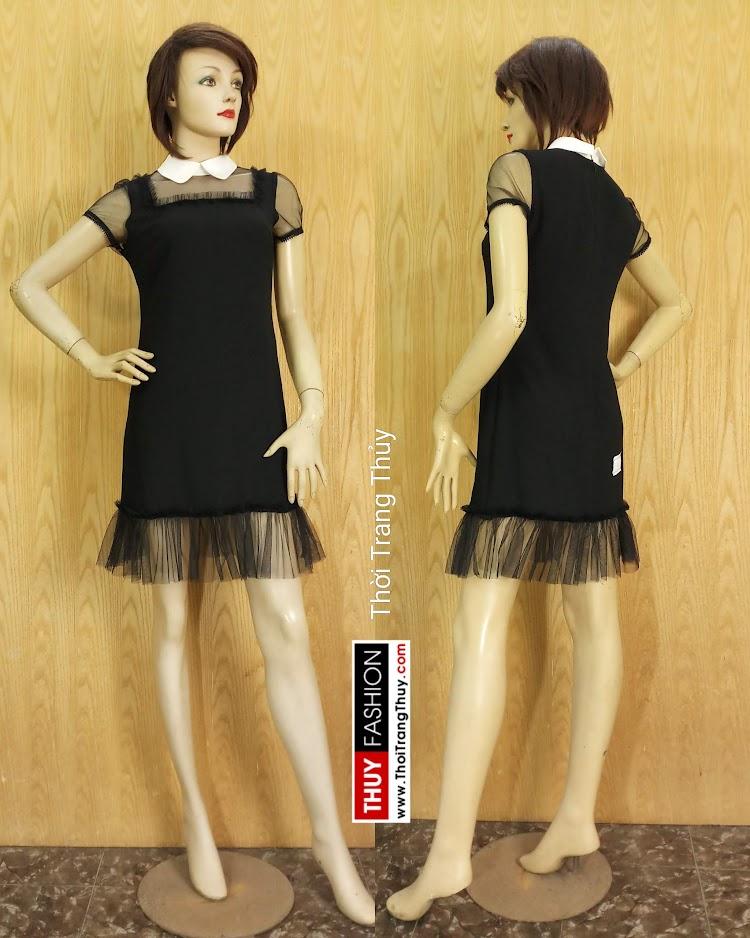 Váy suông cổ cánh sen phối ren màu đen V681 thời trang thủy đà nẵng