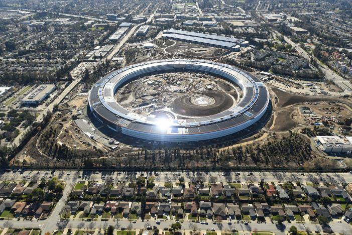 The Apple Campus 2 is seen under construction in Cupertino, California in this aerial photo. Picture: REUTERS