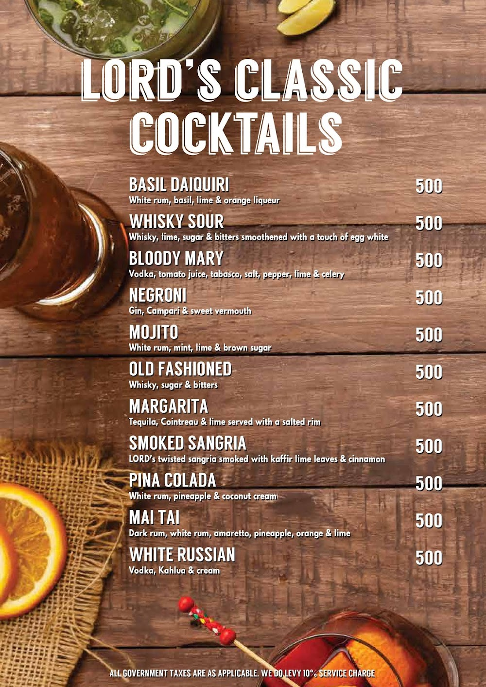 Lord Of The Drinks menu 3