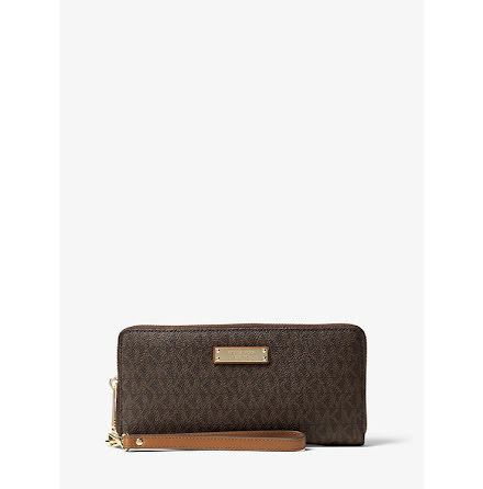 Jet Set: Logo Continental Wristlet, brown