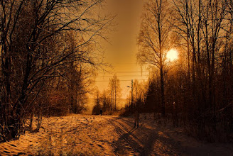 Photo: Memory of Winter Sunset ans Snow  冬の思い出 夕日と帰り道