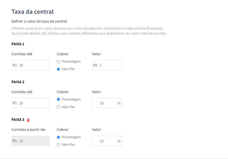 Configuração da taxa da central