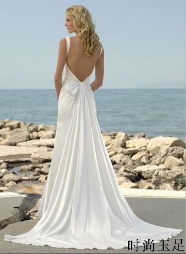 Beach Bridal Gown V Back Shape