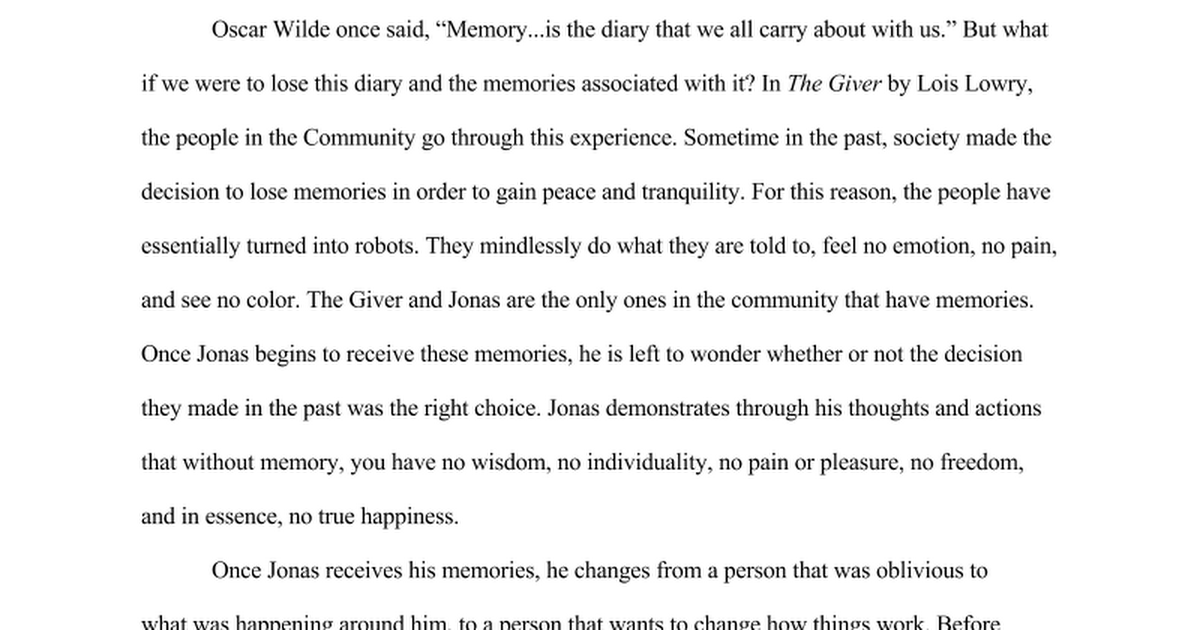 the giver literary essay google docs