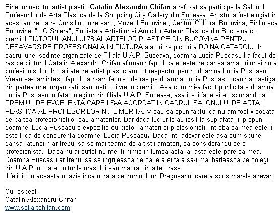Binecunoscutul artist plastic Catalin Alexandru Chifan a refuzat sa participe la Salonul Profesorilor de Arta Plastica de la Shopping City Gallery din Suceava
