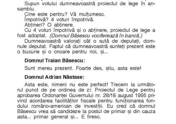 O discuţie Băsescu - Năstase...