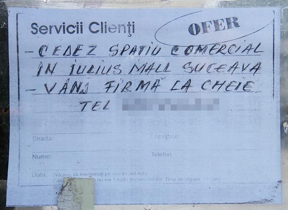Cedez contract de închiriere cu Iulius Mall Suceava