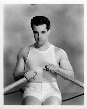 Photo: 1920's star Ramon Navarro gets the full beefcake treatment.  There is less modeling, less sheen. The rowing pose provides the excuse for displaying his body rather frankly. Nothing distracts from the body, which by process of elimination becomes emphasized.