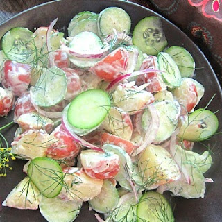Potato & Cucumber Salad w/ Yogurt Dill Dressing