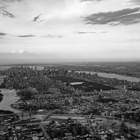 Manhattan by VAM Photography - Black & White Buildings & Architecture ( b&w, citiscapes, buildings, aerial, nyc, architecture )