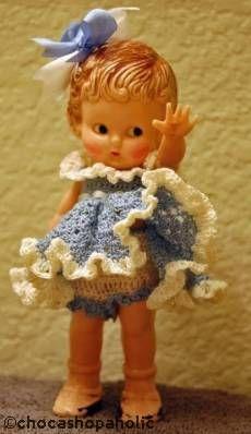 Knickerbocker 6-inch plastic rattle doll 1950s