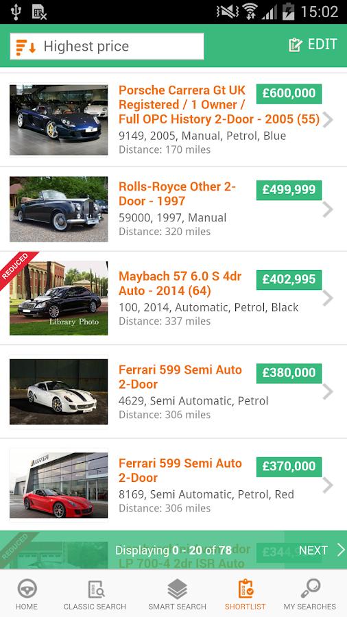Motors.co.uk car search- screenshot