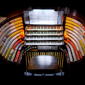 The Sound Starts Here by Gary Hanson - Artistic Objects Musical Instruments ( army, music, control center, organ, sound, west point cadet chapel, pipe organ, pipes, sacred,  )