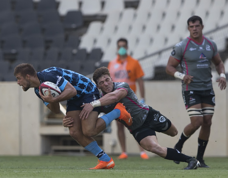 Dawid Kellerman of the Vodacom Blue Bulls and Etienne Taljaard of the Phakisa Pumas during the Currie Cup match between Phakisa Pumas and Vodacom Bulls at Mbombela Stadium in Nelspruit, January 10 2021. Picture: DIRK KOTZE/GALLO IMAGES