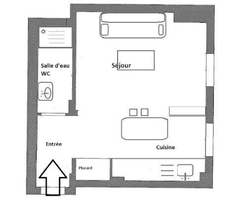 Location studio meublé 29,28 m2