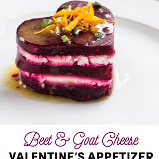 Heart Shaped Beet and Goat Cheese Appetizer with Meyer Lemon Dressing.