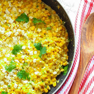 Spicy Creamed Corn with Cotija Cheese and Cilantro.