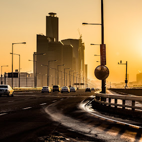 Icy WInter Road in Seoul by Frederik Schulz - City,  Street & Park  Neighborhoods ( winter, traffic, highway, sunset, cars, ice, street, seoul, korea )