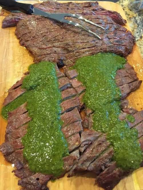 """Flank Steak with Chimichurri Sauce """"This is the perfect dish for a..."""