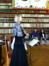 Photo: Lucie Tarabova played flute for us at the monastery.  Guitarist out of sight behind her.