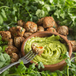 Green Chile Turkey Meatballs with Avocado Dunking Sauce