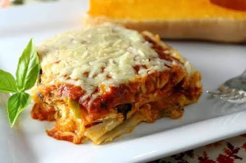 "Roasted Butternut Squash Four Cheese Lasagna""Rich, warm layers of lightly sweet butternut..."