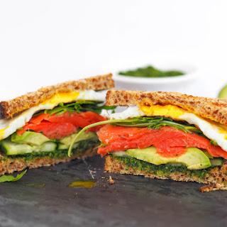 Smoked Salmon and Avocado Breakfast Sandwich.