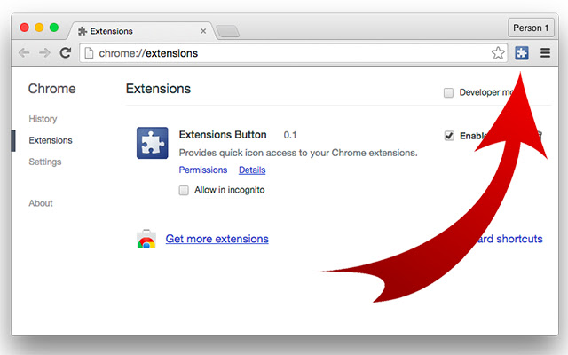 Extensions Button