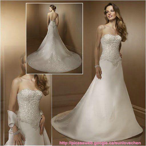 strapless-corset-wedding-dress-with-A-line-skirt