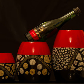 by Rajesh Loganathan - Artistic Objects Other Objects ( black background, red, candle holder, art, remi martin, bottle, smoke )