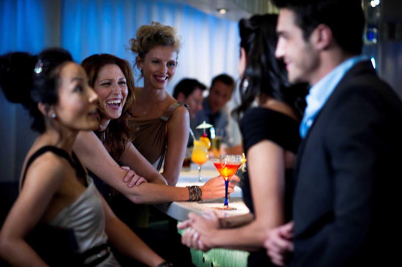 All work and no play? Come on. The Martini Bar aboard your Celebrity Cruises Solstice class ship is a great venue for socializing with colleagues or new friends.