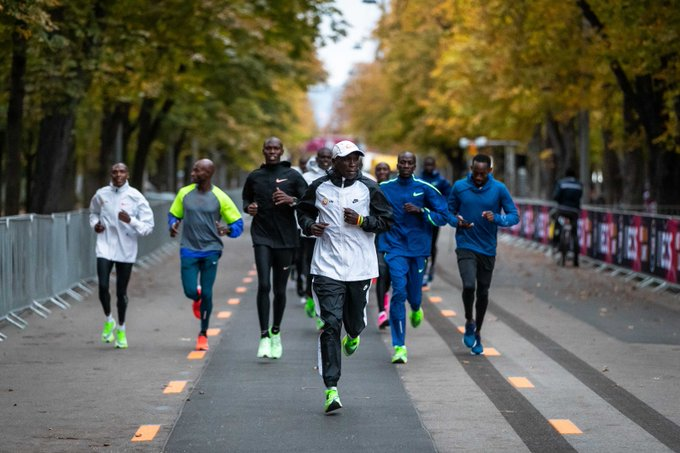 Olympic and world marathon champion Eliud Kipchoge going for a first run on the @INEOS159.