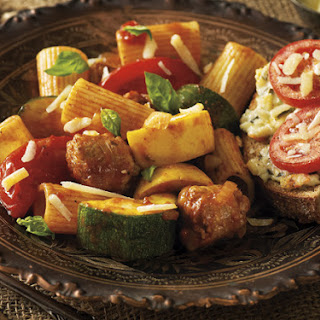 Sausage Vegetable Pasta with Artichoke-Spinach Toast