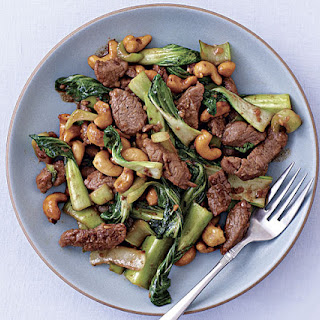 Pork Stir-Fry with Baby Bok Choy and Cashews.
