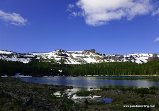 Photo: Three Creek Lake and Tam McArthur Rim, above the Rooster Rock burn. 6500 ft.