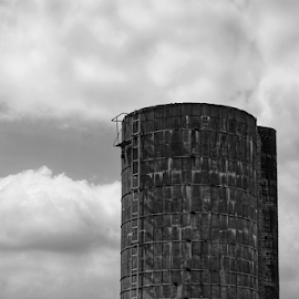 Silo  by Todd Reynolds - Black & White Buildings & Architecture