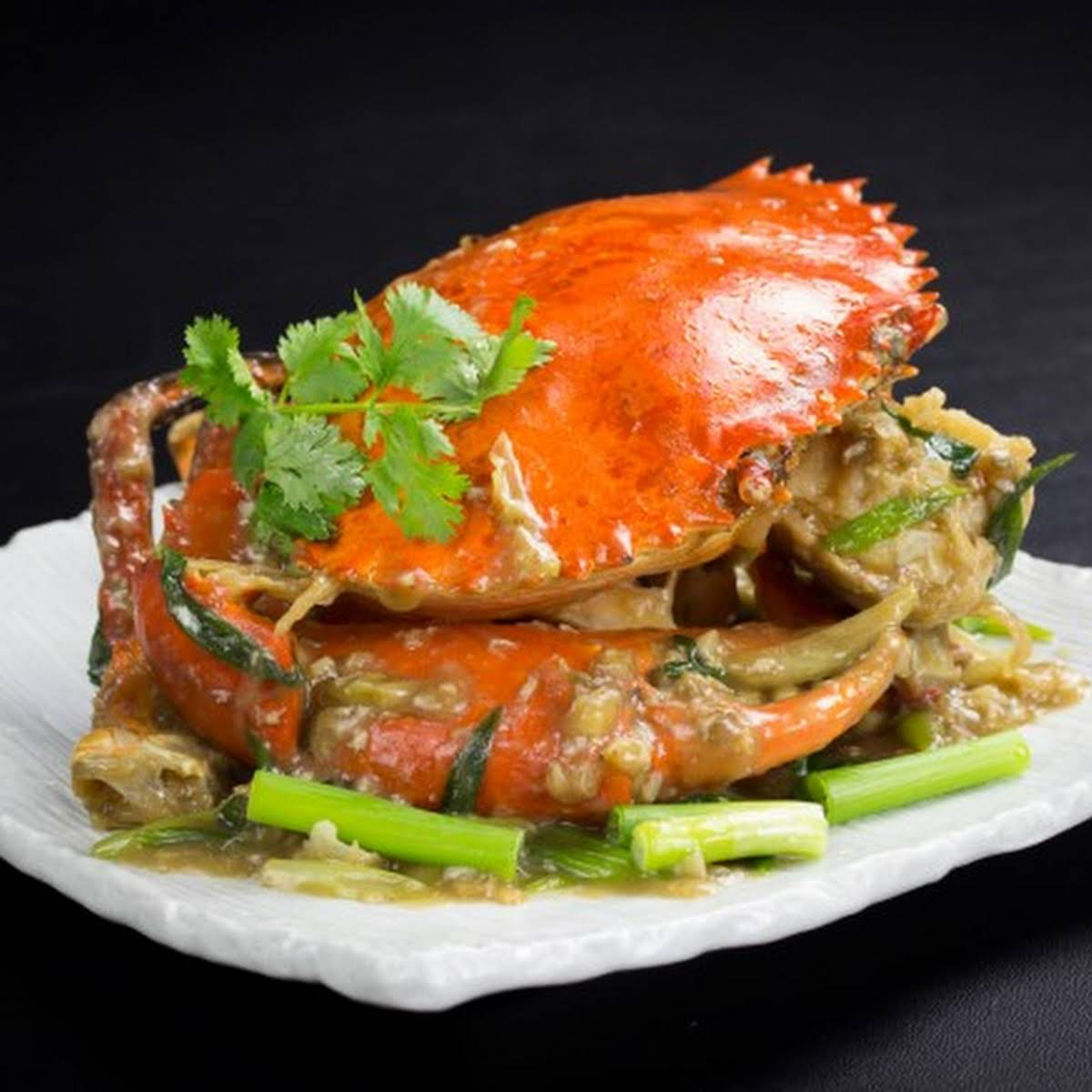 raise a fuss Fry Crabs  subsequent to Ginger and Spring Onions (Hong Kong style)