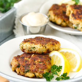 Low Carb Crab Cakes with Mustard Sauce.