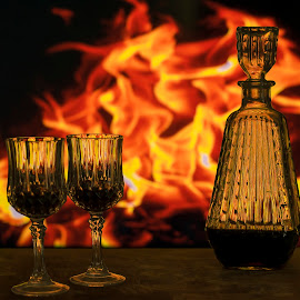 Fire and Wine by Jamie Ledwith - Food & Drink Alcohol & Drinks ( wine, food, decanter, drink, fire )